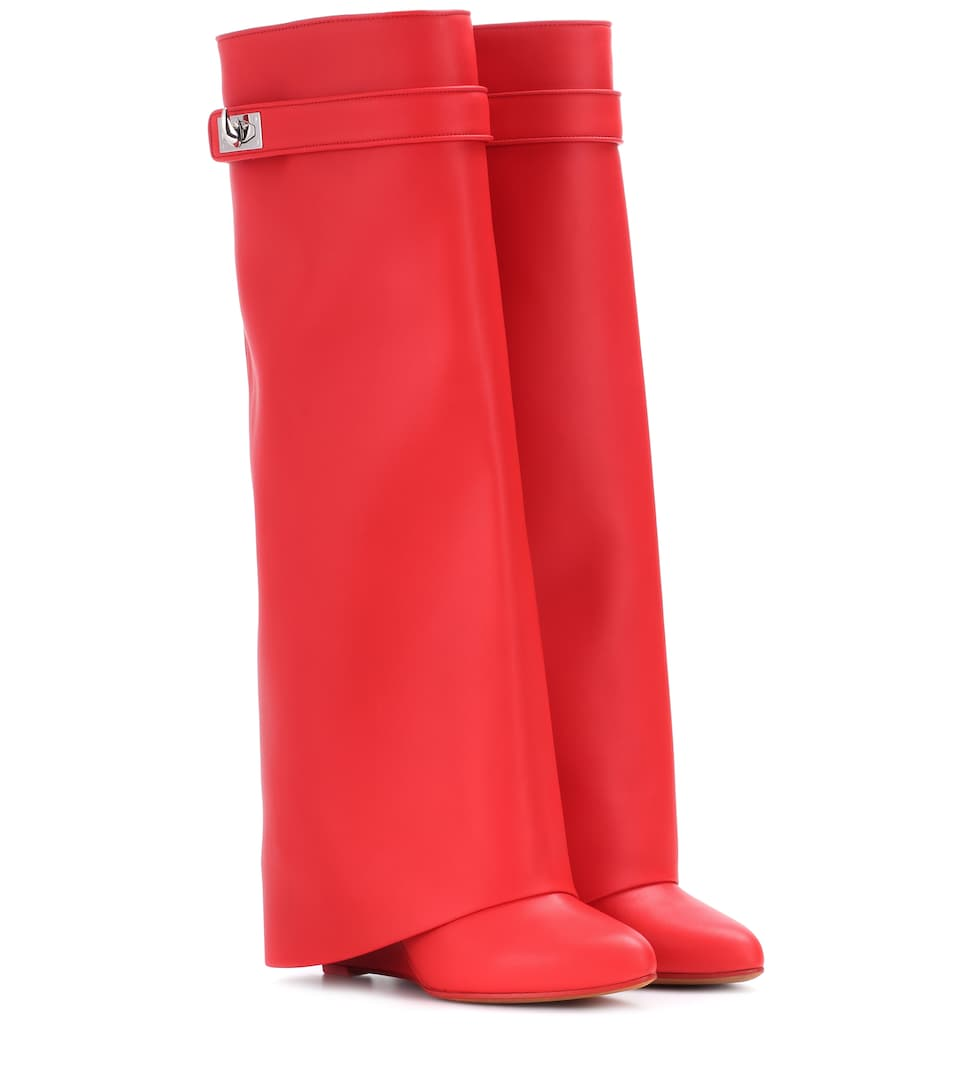 Red Leather Shark Lock 90 knee boots
