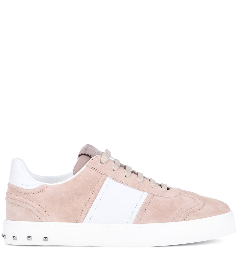 Valentino FLYCREW SUEDE & LEATHER SNEAKERS Bugmf