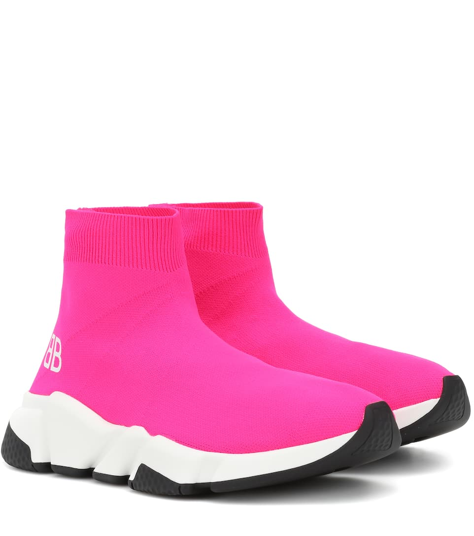 Ladies Pale Pink Speed Woven Mid-Top Trainers