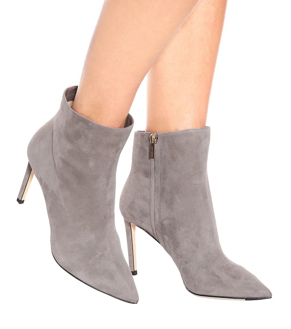 Perfect Online Clearance Real Jimmy Choo Helaine 85 suede ankle boots Dark Grey Free Shipping Outlet Locations Free Shipping Wiki Huge Surprise For Sale 9eiusBjn4V