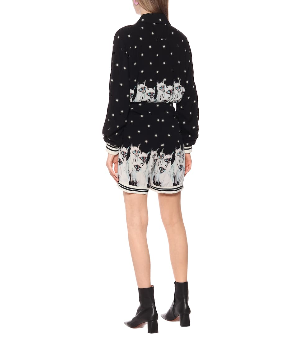 Undercover - Printed rayon shorts