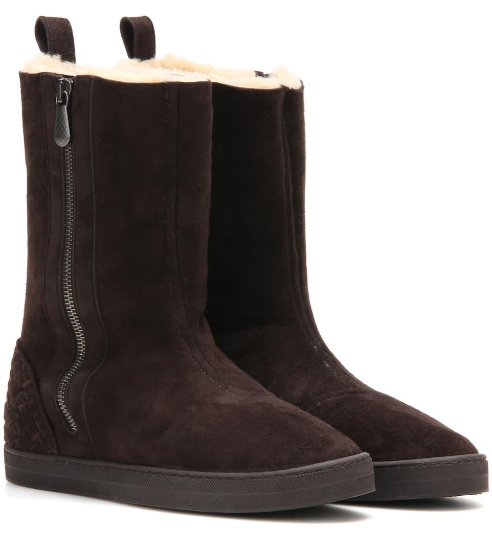 winter lagoon shearling lined suede boots bottega veneta