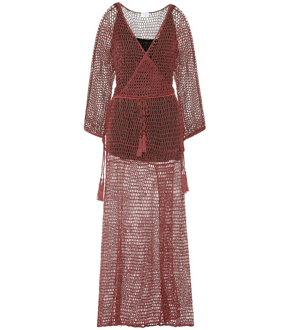Maxi de malla Marsala algodón Anna Kosturova de vestido 5On7qR