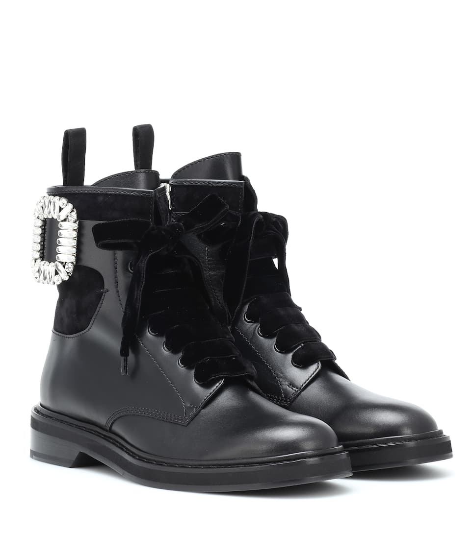 Viv' Rangers Strass Leather Boots by Roger Vivier