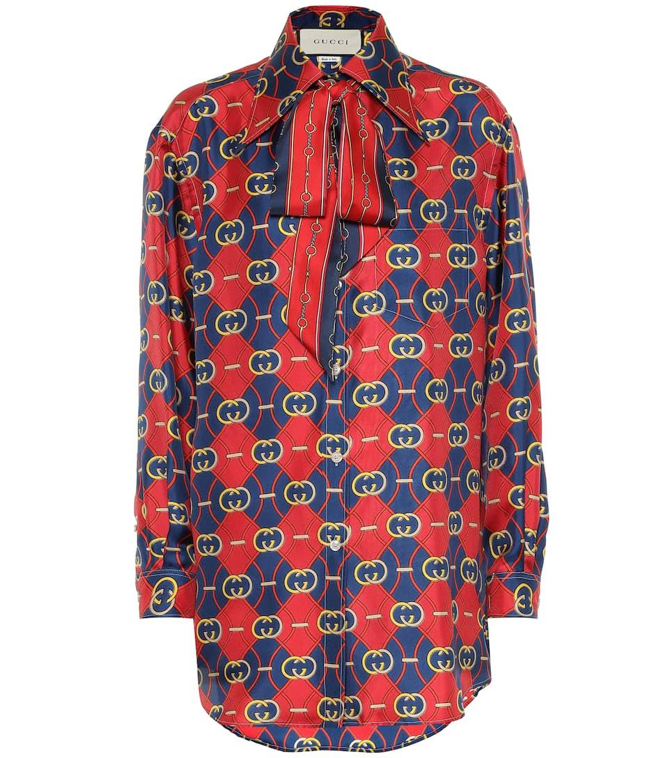 4e3a62c8b57e Gucci - Printed silk shirt | Mytheresa