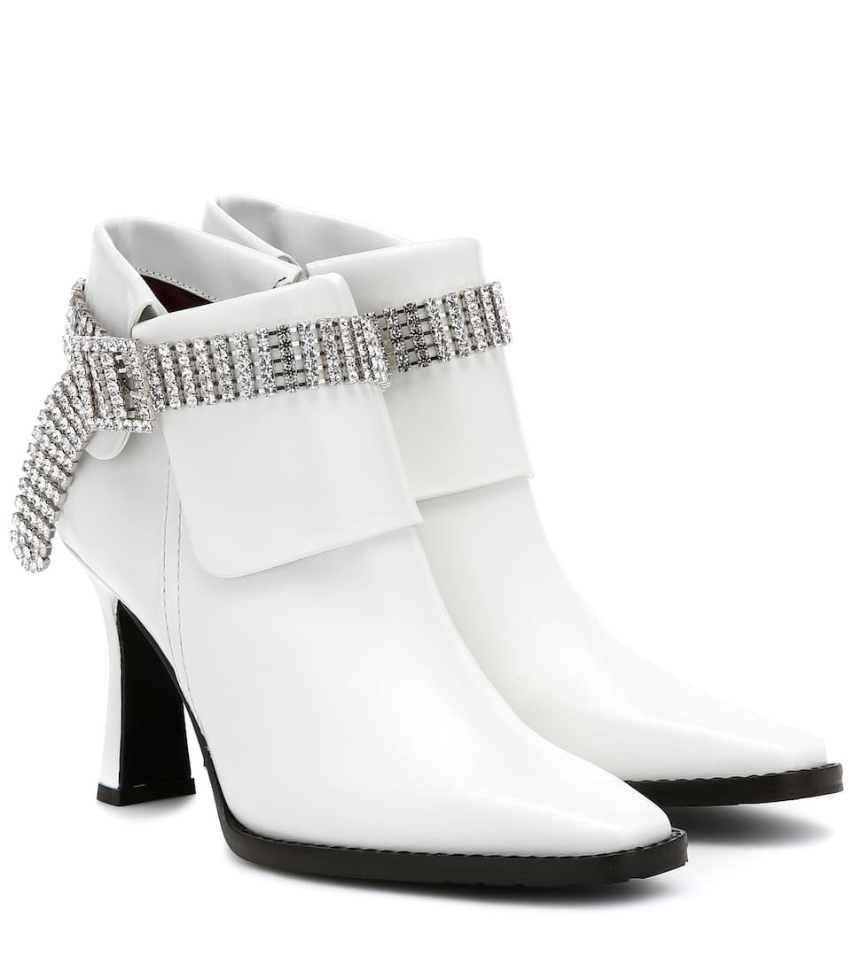 Verzierte Ankle Boots Aus Leder Versace | Mytheresa