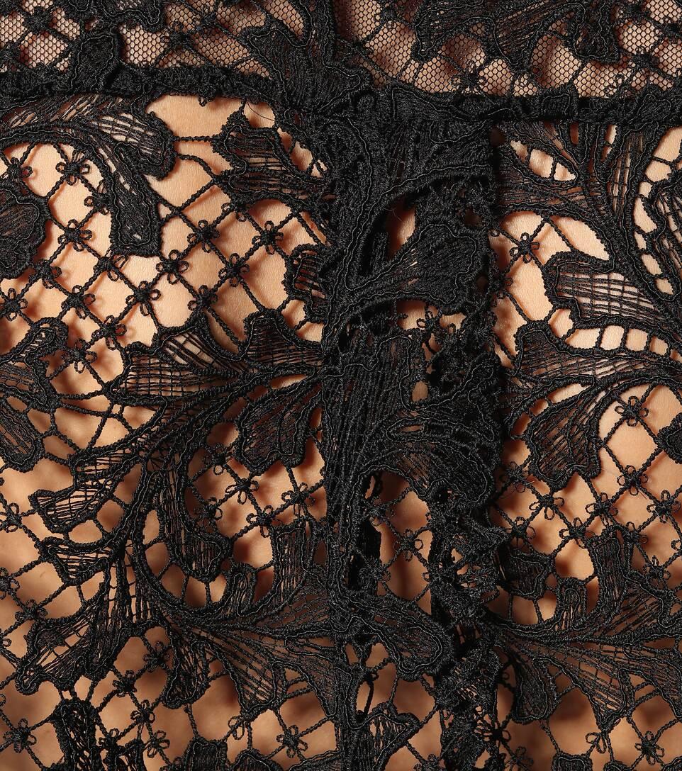 Sacai - Lace-trimmed cotton T-shirt
