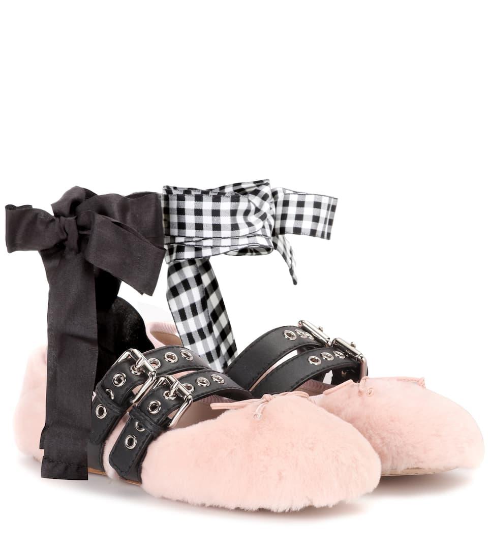 Miu Miu Shearling-lined leather ballerinas Qggh8xpNd