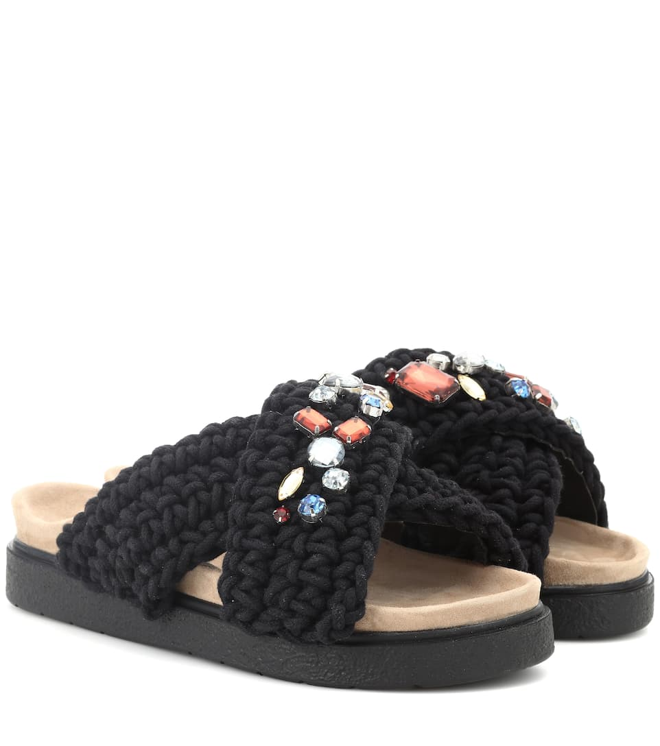 INUIKII Embellished Crochet Slides in Black