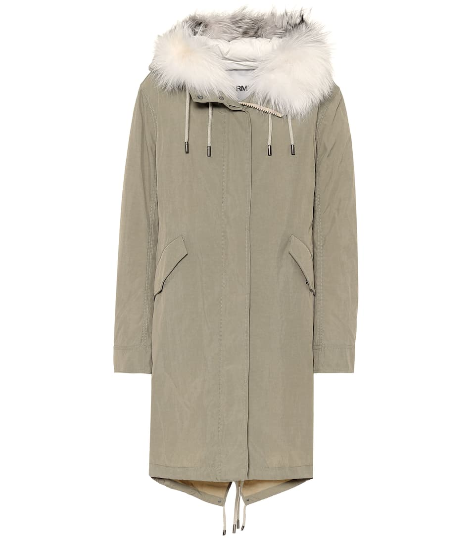 Army fur trimmed down parka bG6Cw
