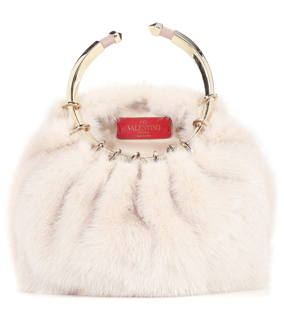 Valentino Bebop Loop Fur Clutch Bag LHke16