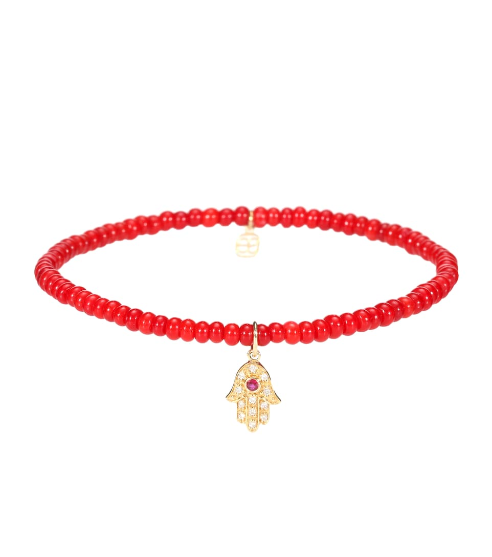 Bracelet En Perles Avec Charm En Or Jaune 14 Ct, Diamants Blancs Et Rubis Baby Hamsa