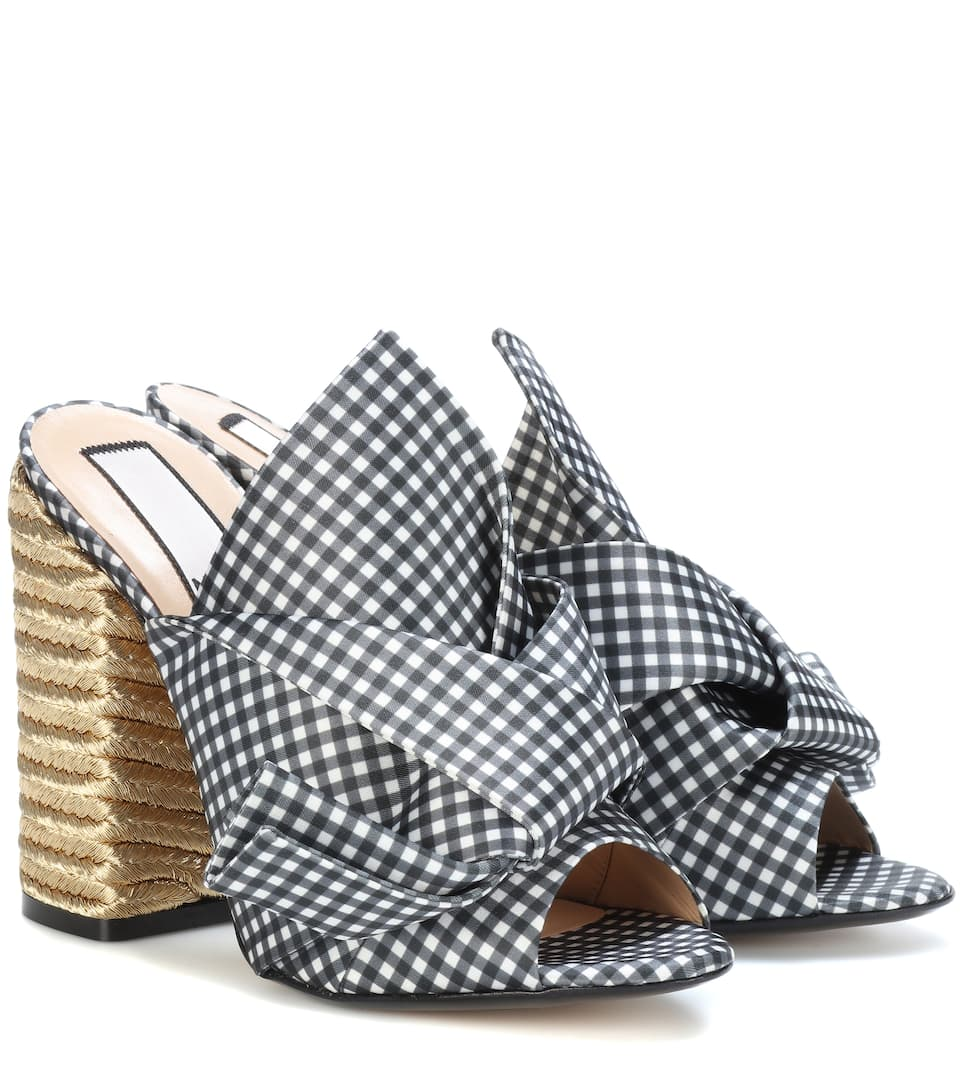 Nº21 Gingham Abstract Bow Mules - Black, Female