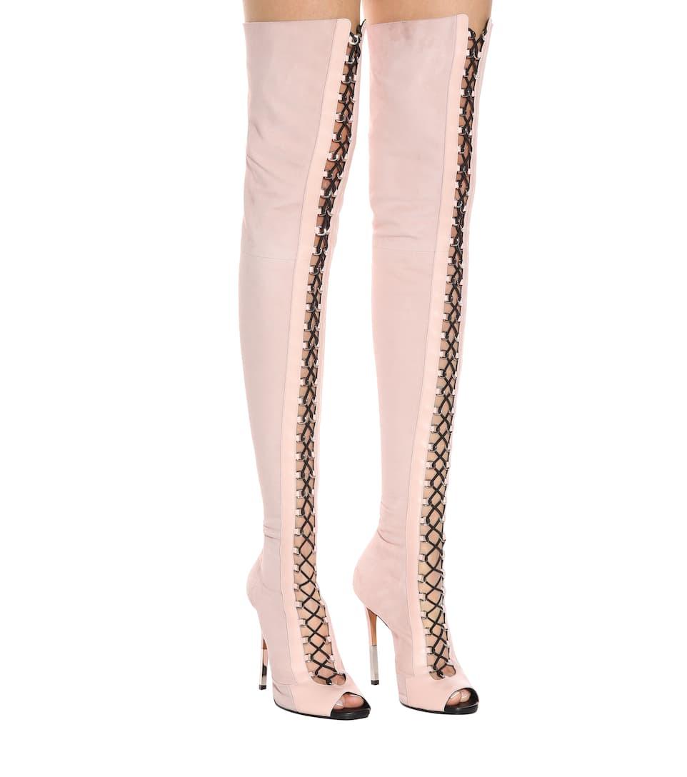 Balmain Overknee-Stiefel Tigh-High aus Veloursleder