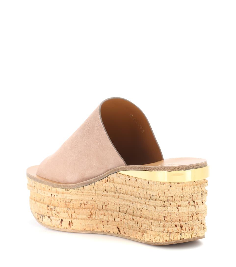 Sandales compensées en daim CamilleChloé yPAhXq