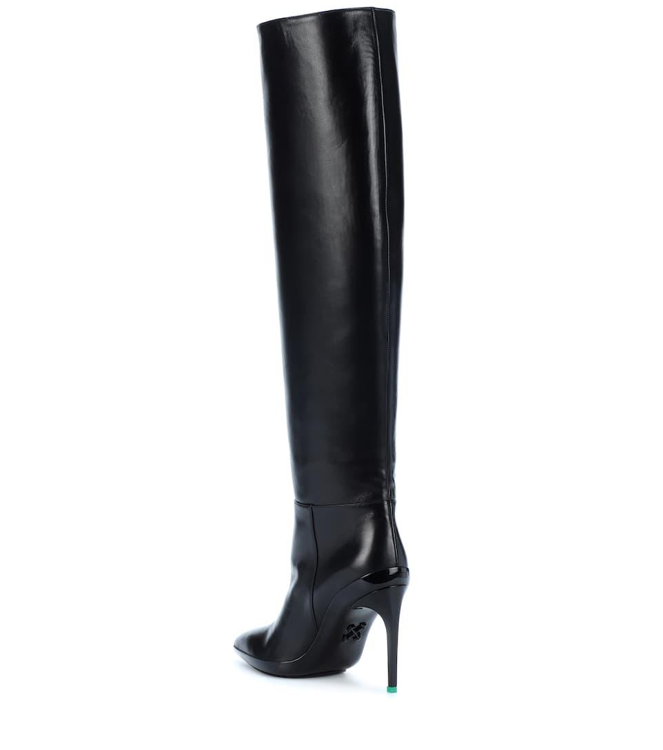 Off-White Overknee-Stiefel For Walking aus Leder