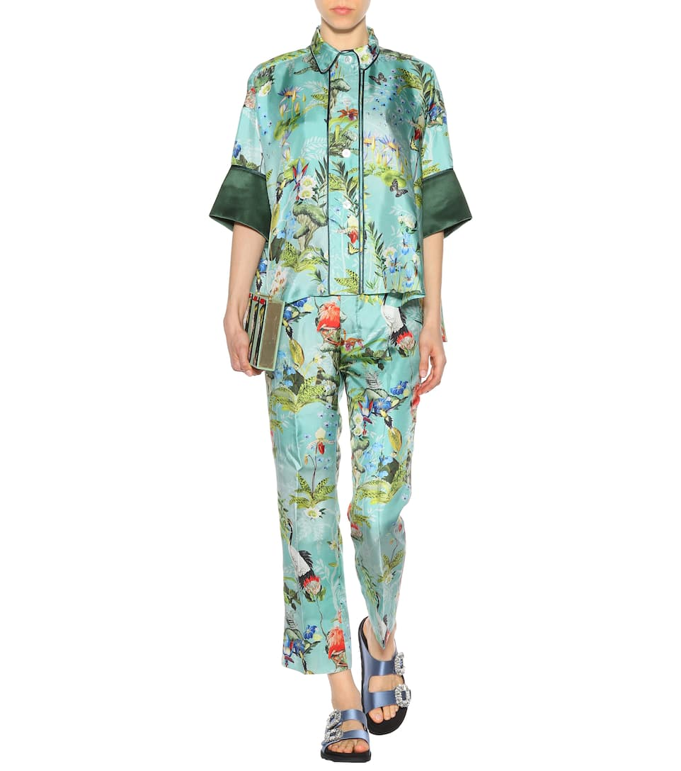 Flowers R seda Sleepers animales amp; Sleepless Los amp; de S For Blusa F estampada SqwA66
