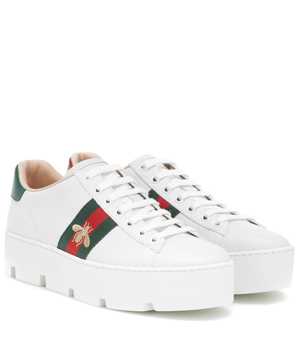 Ace Platform Leather Sneakers | Gucci