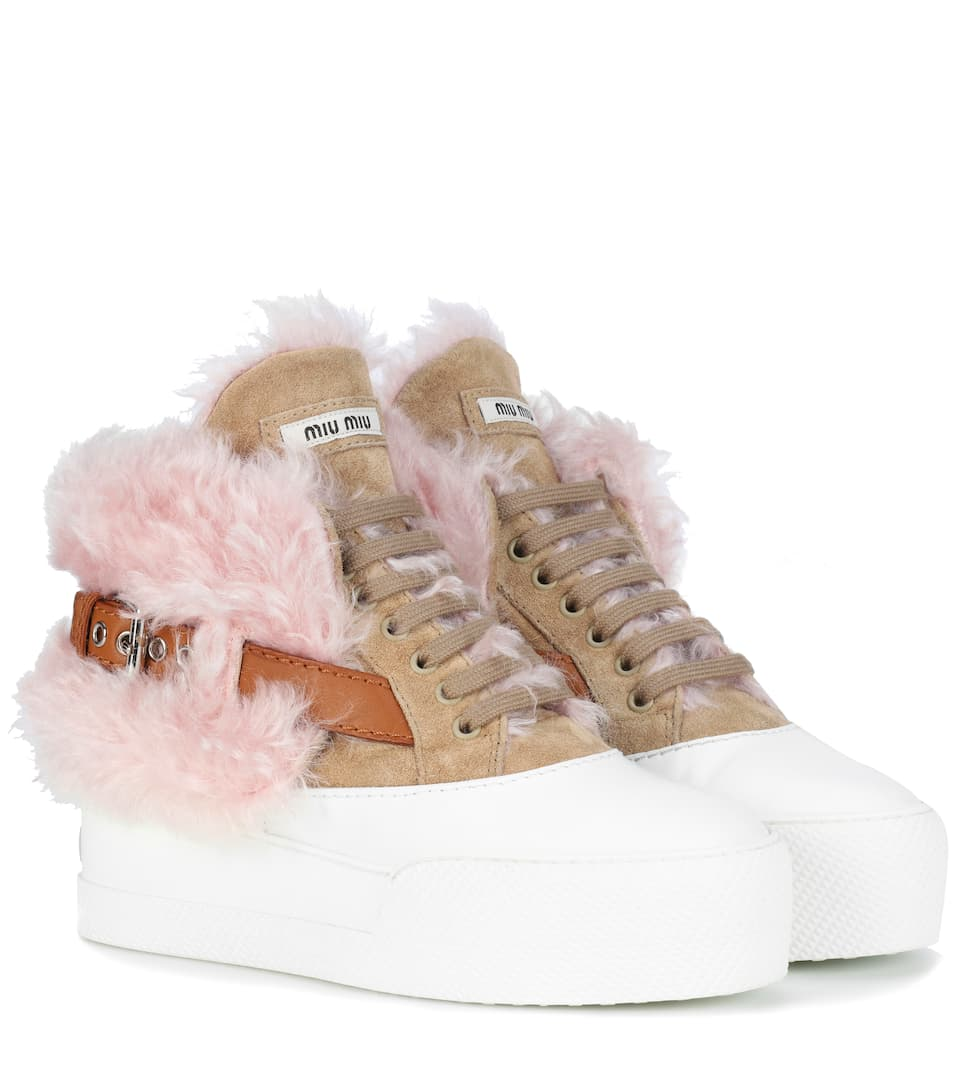 SUEDE AND SHEARLING SNEAKERS