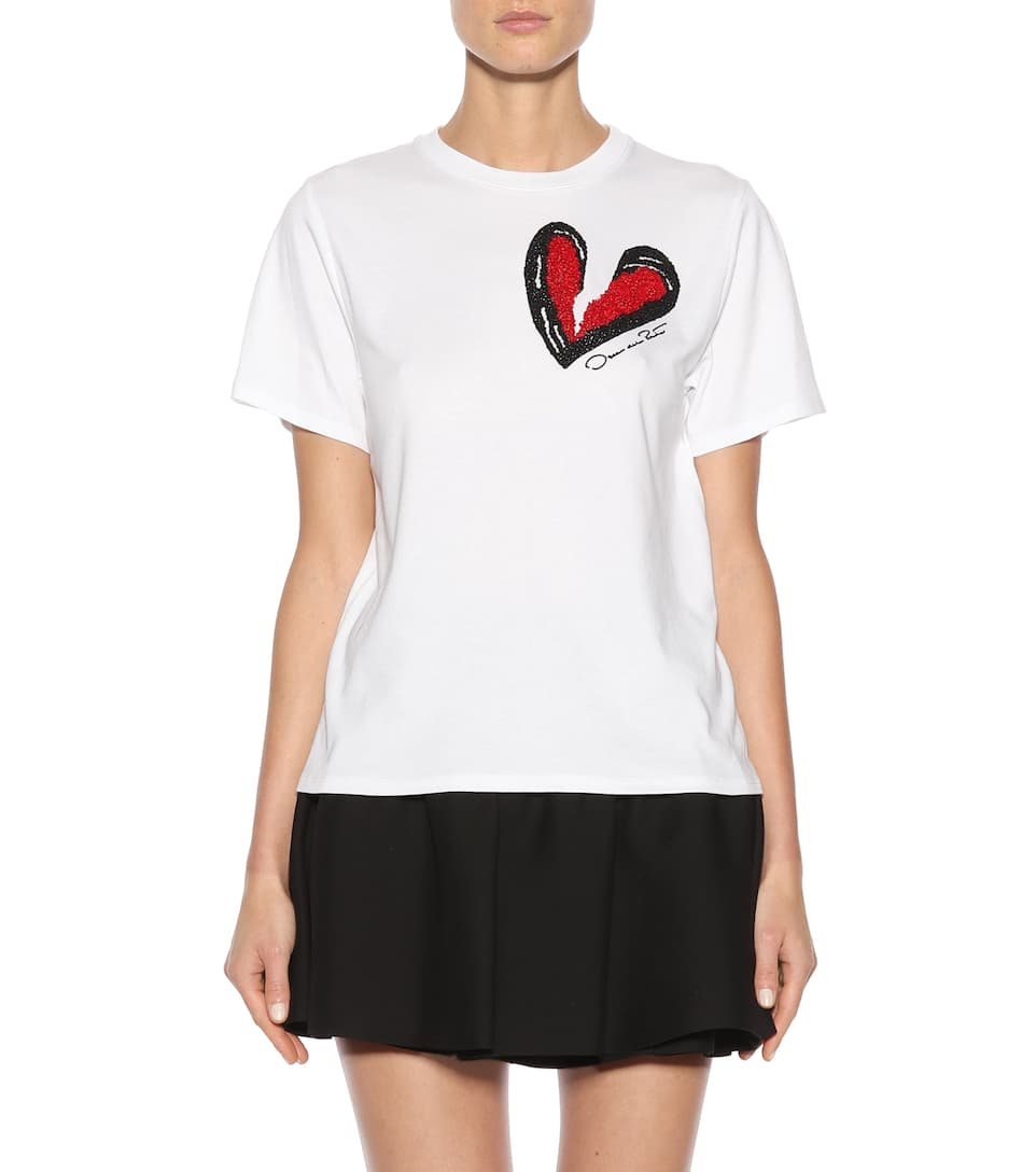 Oscar de la Renta Verziertes T-Shirt aus Modal und Baumwolle