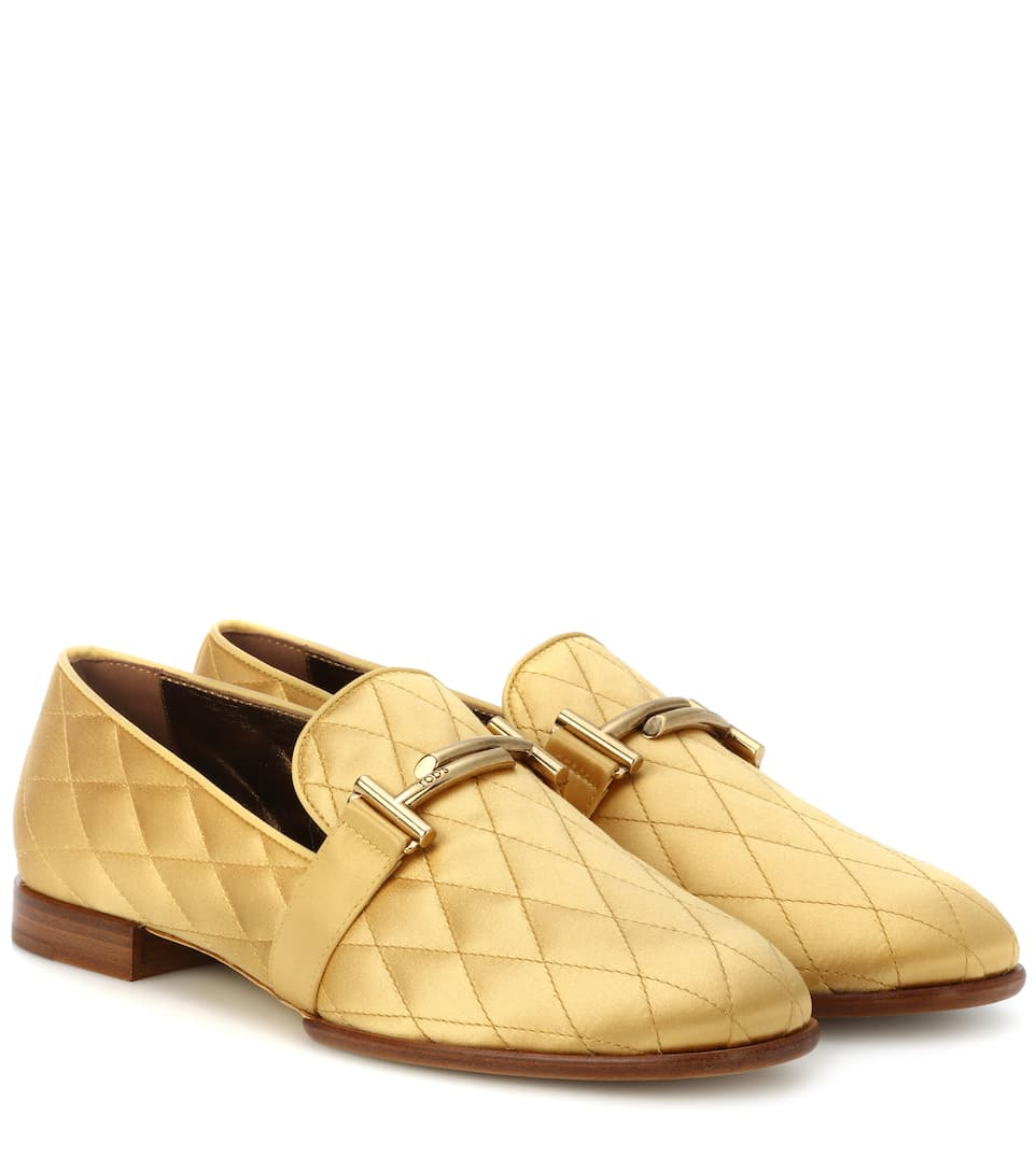 DOUBLE T QUILTED SATIN LOAFERS