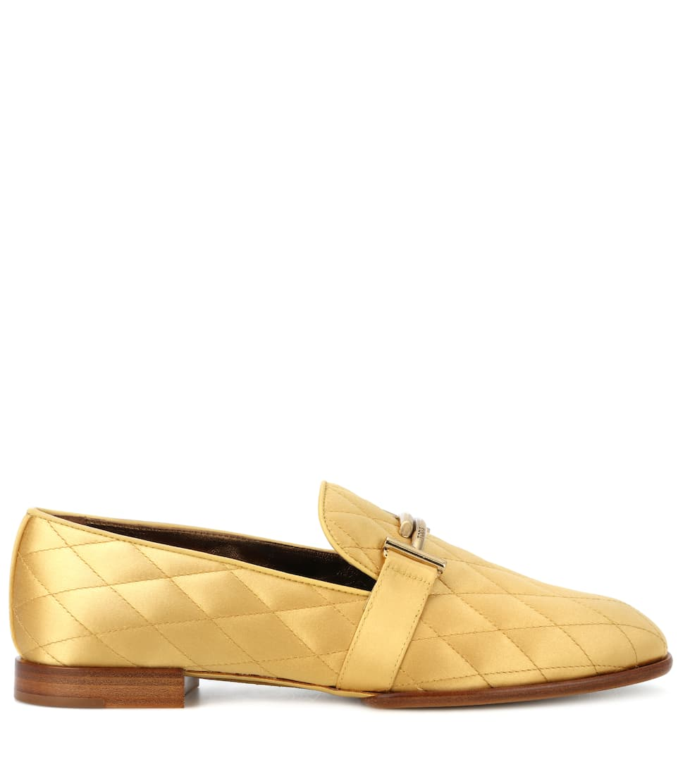 fa96820c9f5 Double T Quilted Satin Loafers - Tod s