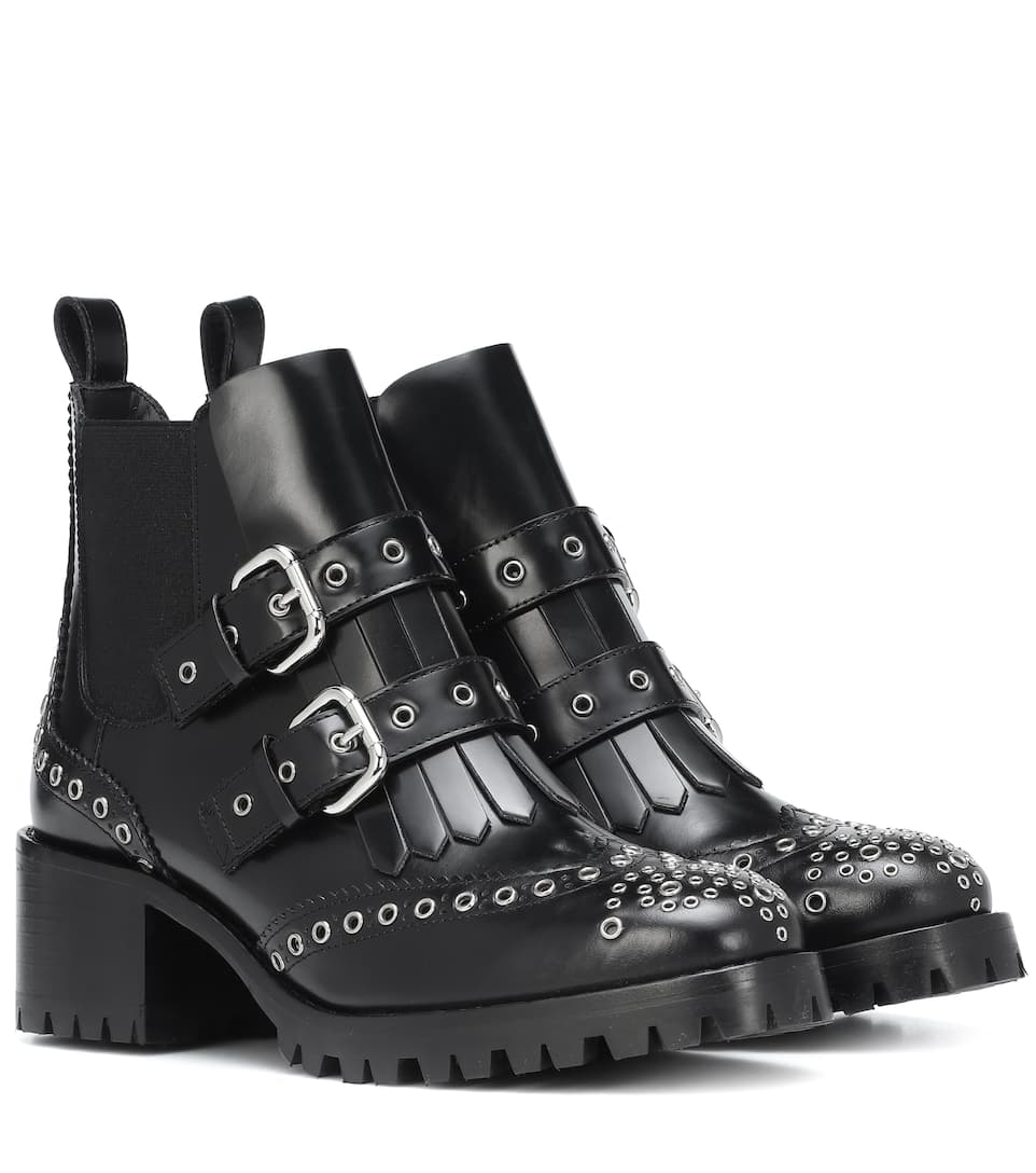 Red (V) Studded Leather Ankle Boots by Red (V)