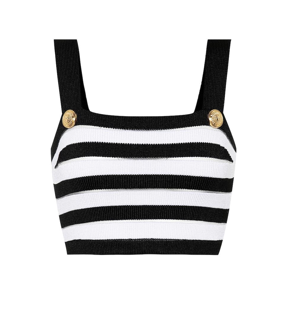 652d87f8b1fdb2 Balmain - Striped knit crop top | Mytheresa