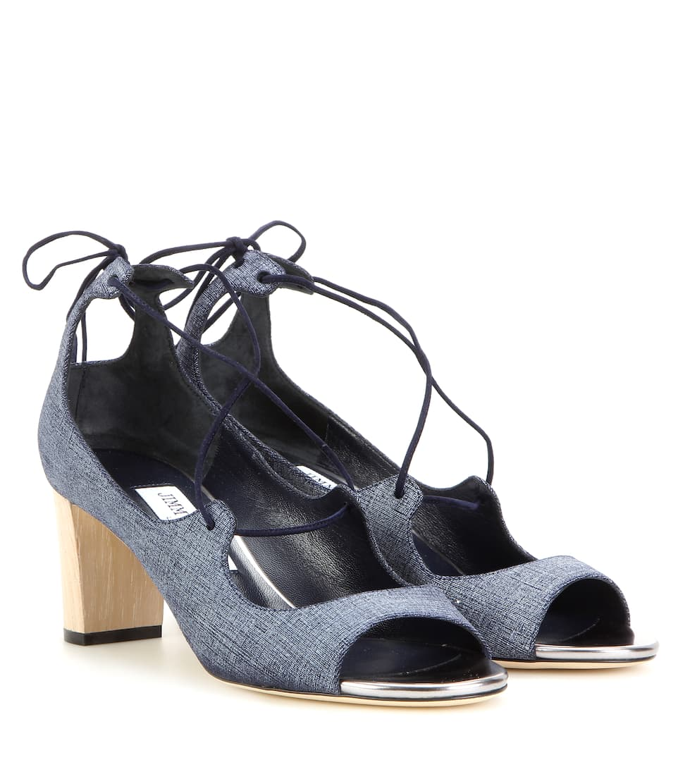 JIMMY CHOO Vernie 65Mm Denim Lace-Up Sandal, Indigo