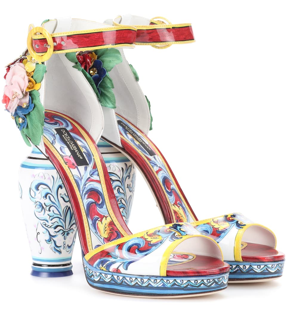 Patent Dolceamp; Sandals Printed Leather Gabbana 76yYvfbg