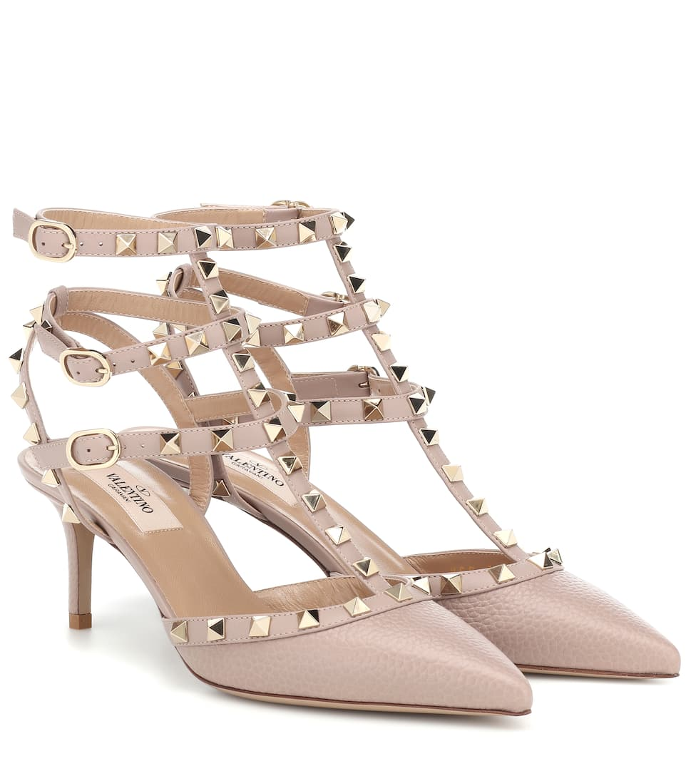 Valentino Garavani Garavani Rockstud 65 Metallic Textured-leather Pumps