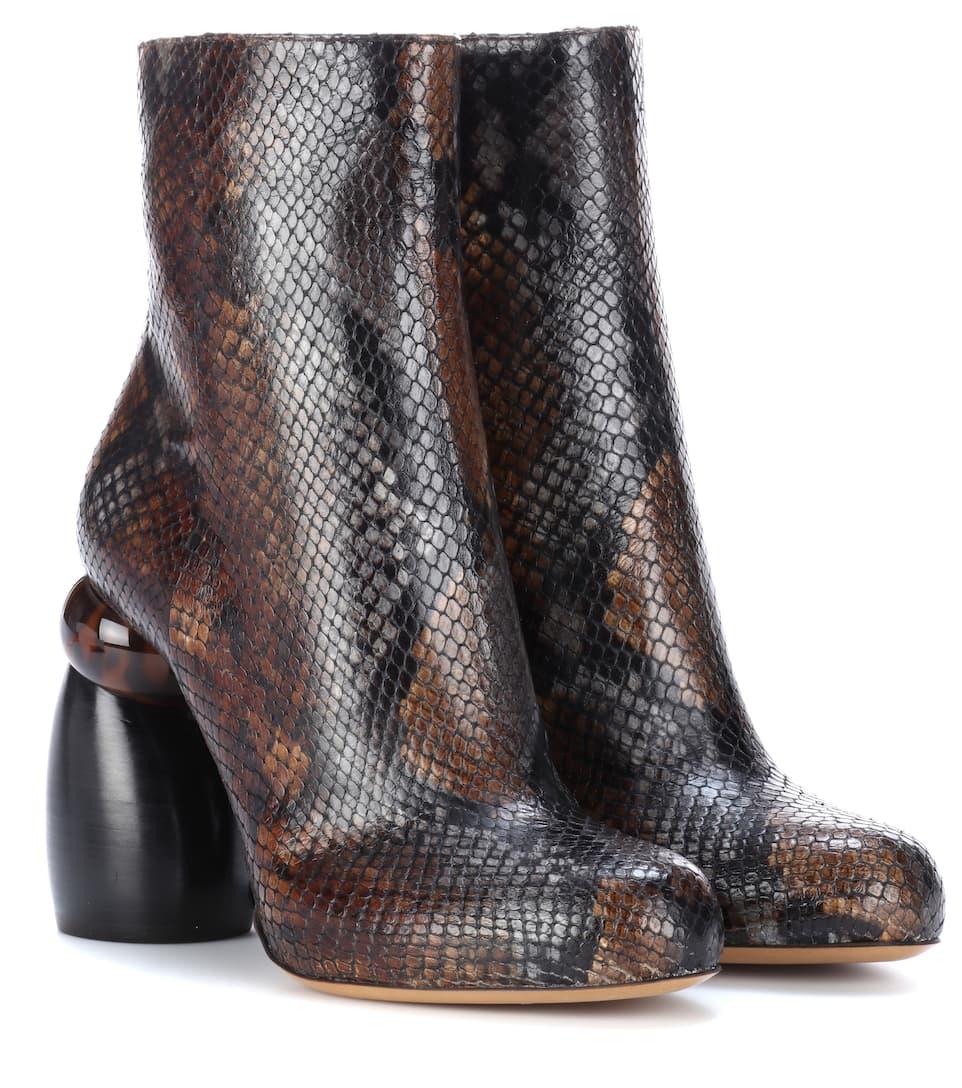 Ankle Boots Aus Geprägtem Leder by Dries Van Noten