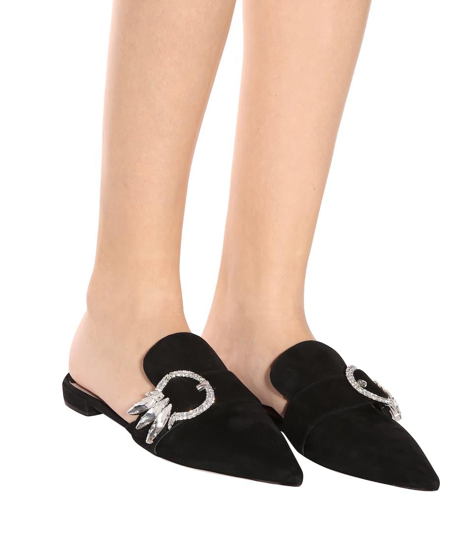 Miu Miu Verzierte Slippers aus Veloursleder