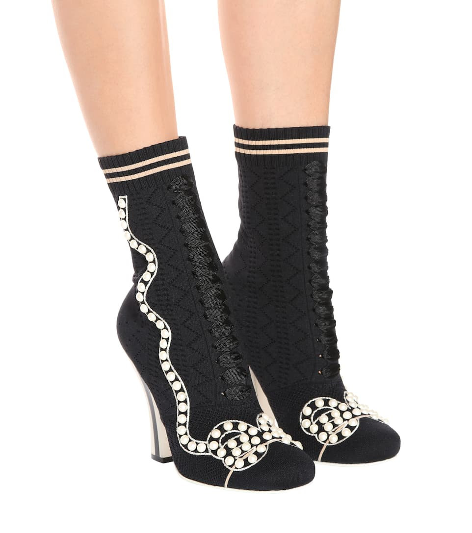 Fendi Studded Ankle Boots Made Of Stretch-knit