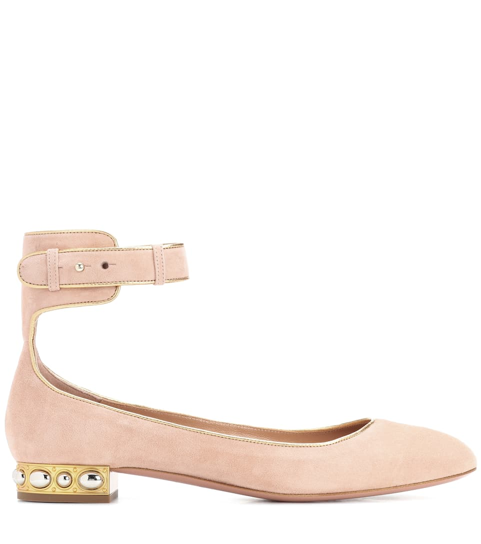 Aquazzura Ballerinas Lucky Star aus Veloursleder