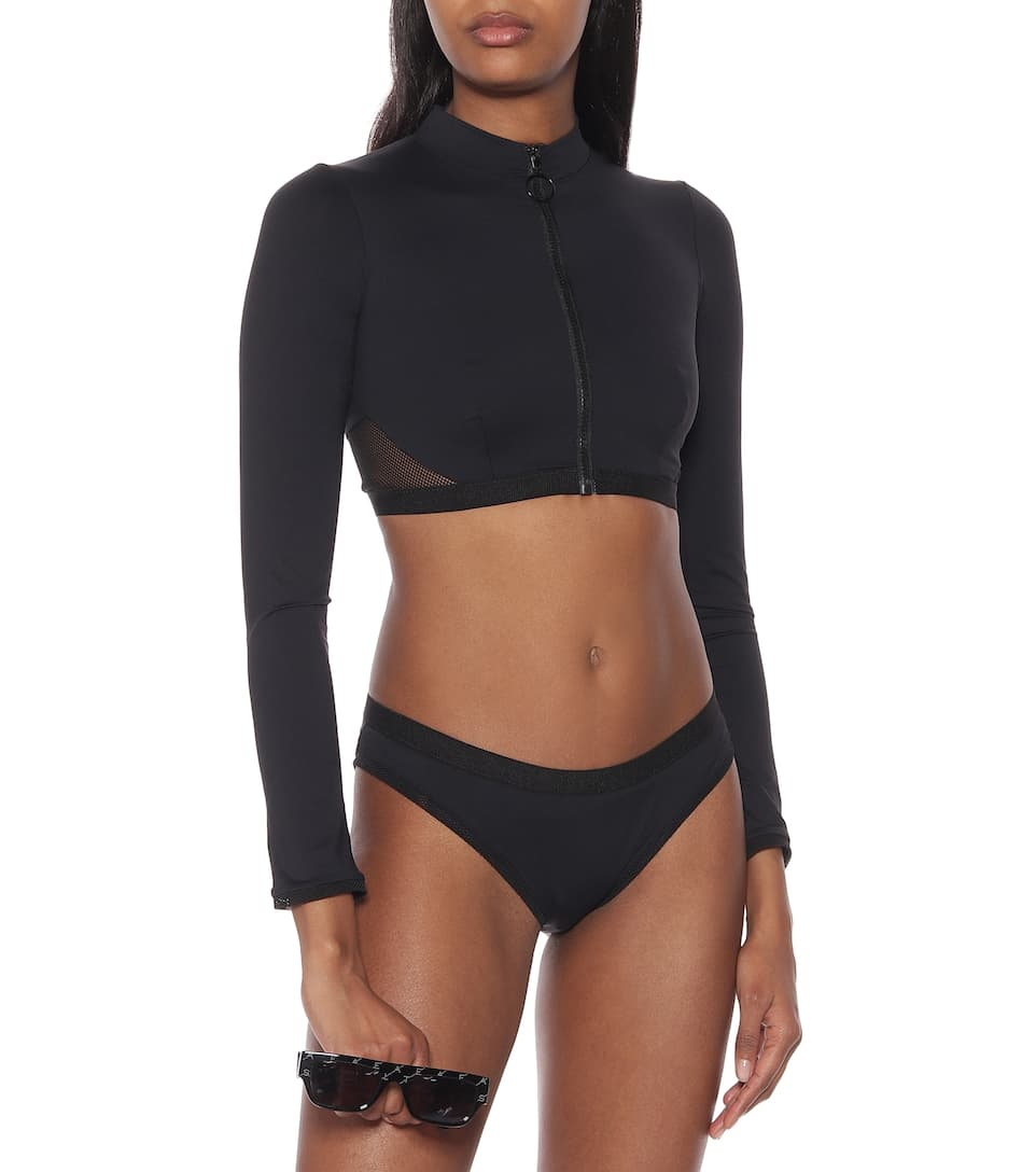 Mesh trimmed rash guard