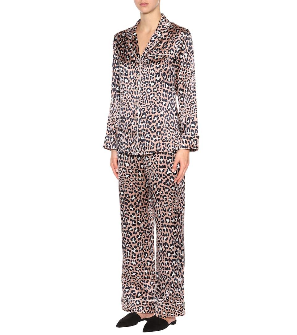 von estampado marfil marino de de azul lila Conjunto seda Halle pijama Olivia IqwPn0Rx