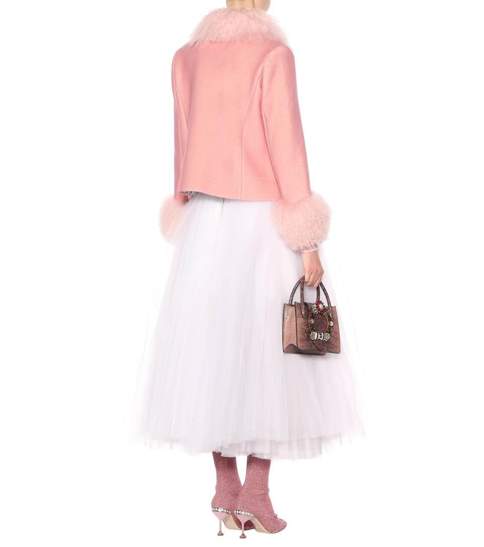 Saks Potts Jacke aus Wolle mit Lammfell