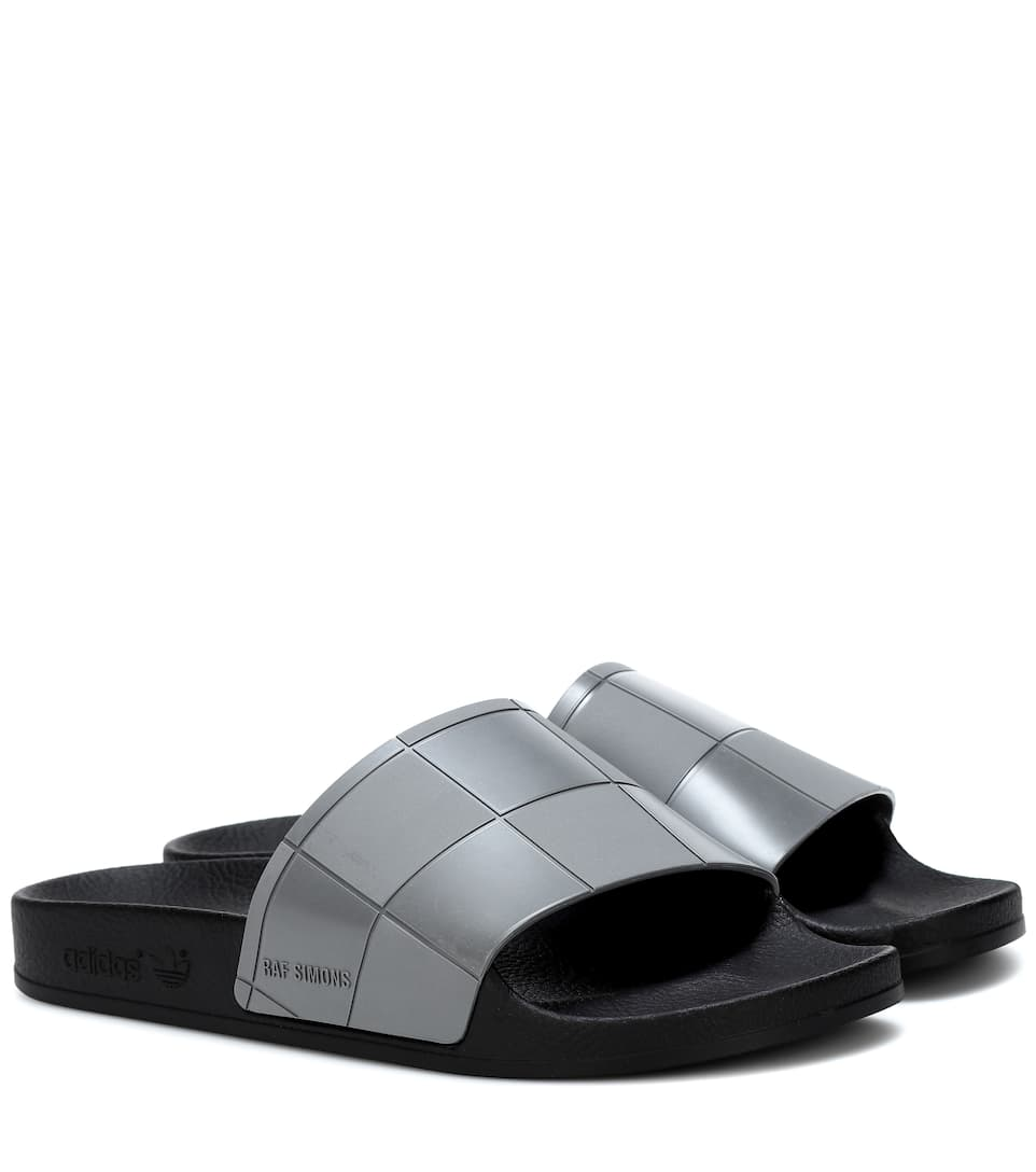 ADIDAS BY RAF SIMONS Adilette Checkerboard Slides, Black