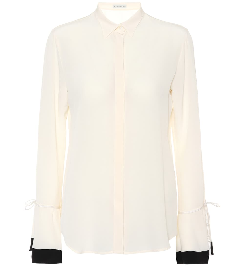Contrasting Flared Cuff Shirt in White