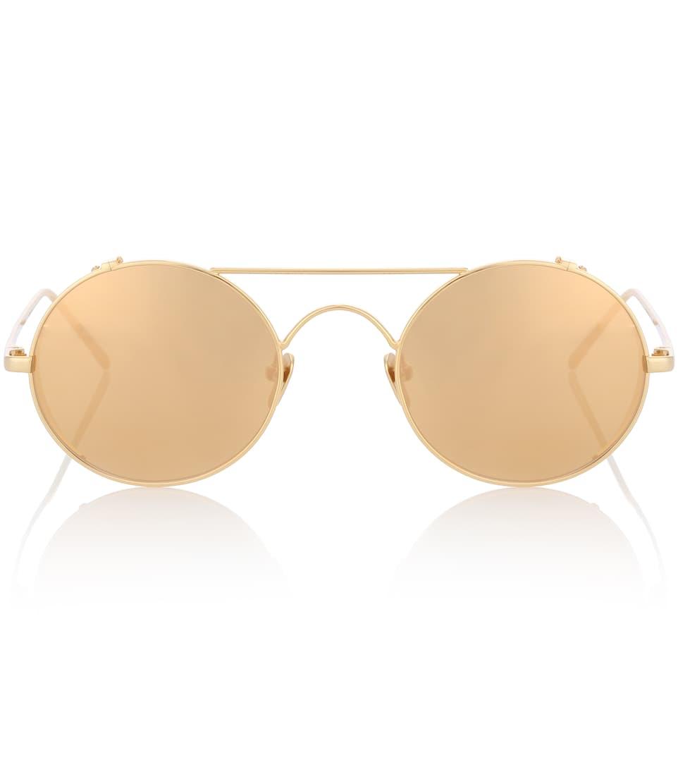 d61c7d0e32 427 C1 Oval Sunglasses In Yellow Gold - Linda Farrow