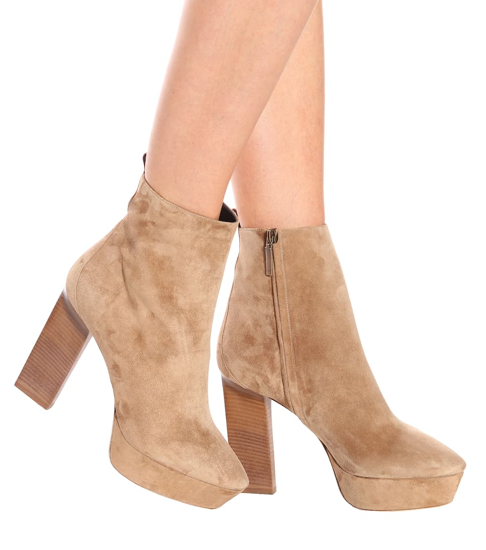 Vika 95 Suede Plateau Ankle Boots Saint Laurent yXFpeOh