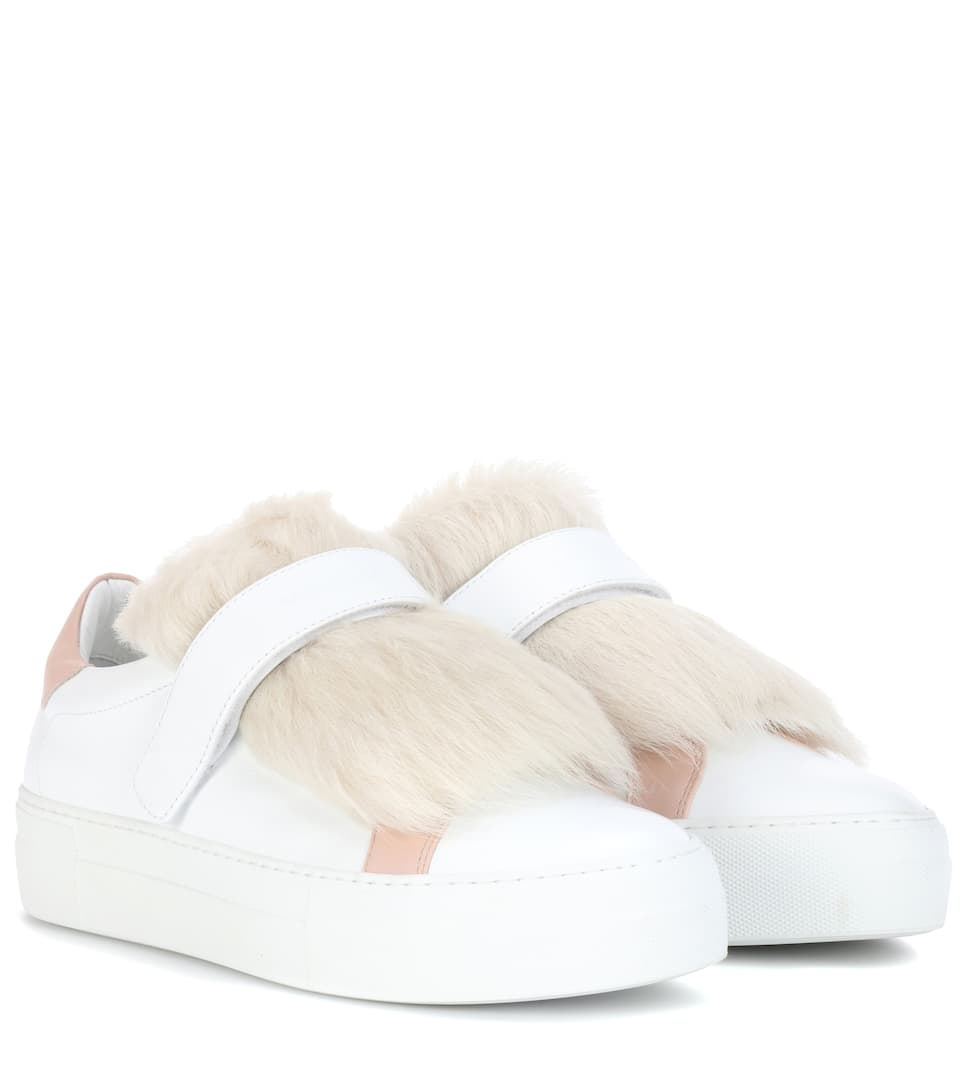 Victoire Fur-trimmed Leather Sneakers Moncler 1CRviUva