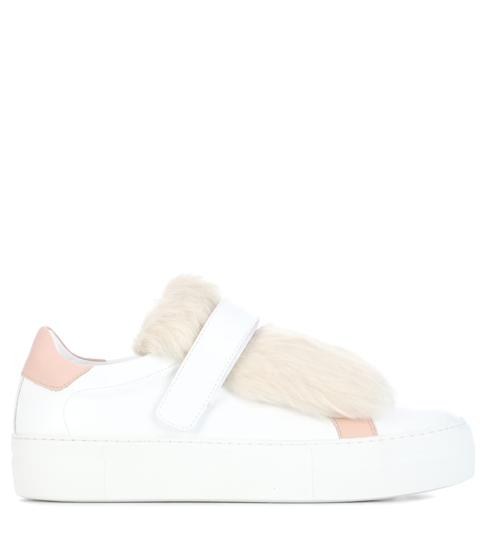 Moncler Sneakers Victoire In Leather With Shearling