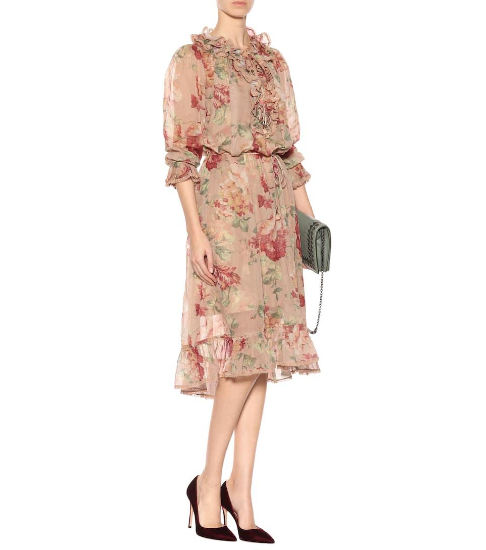 Zimmermann Kleid Corsair mit Print Geniue Händler k6wDi