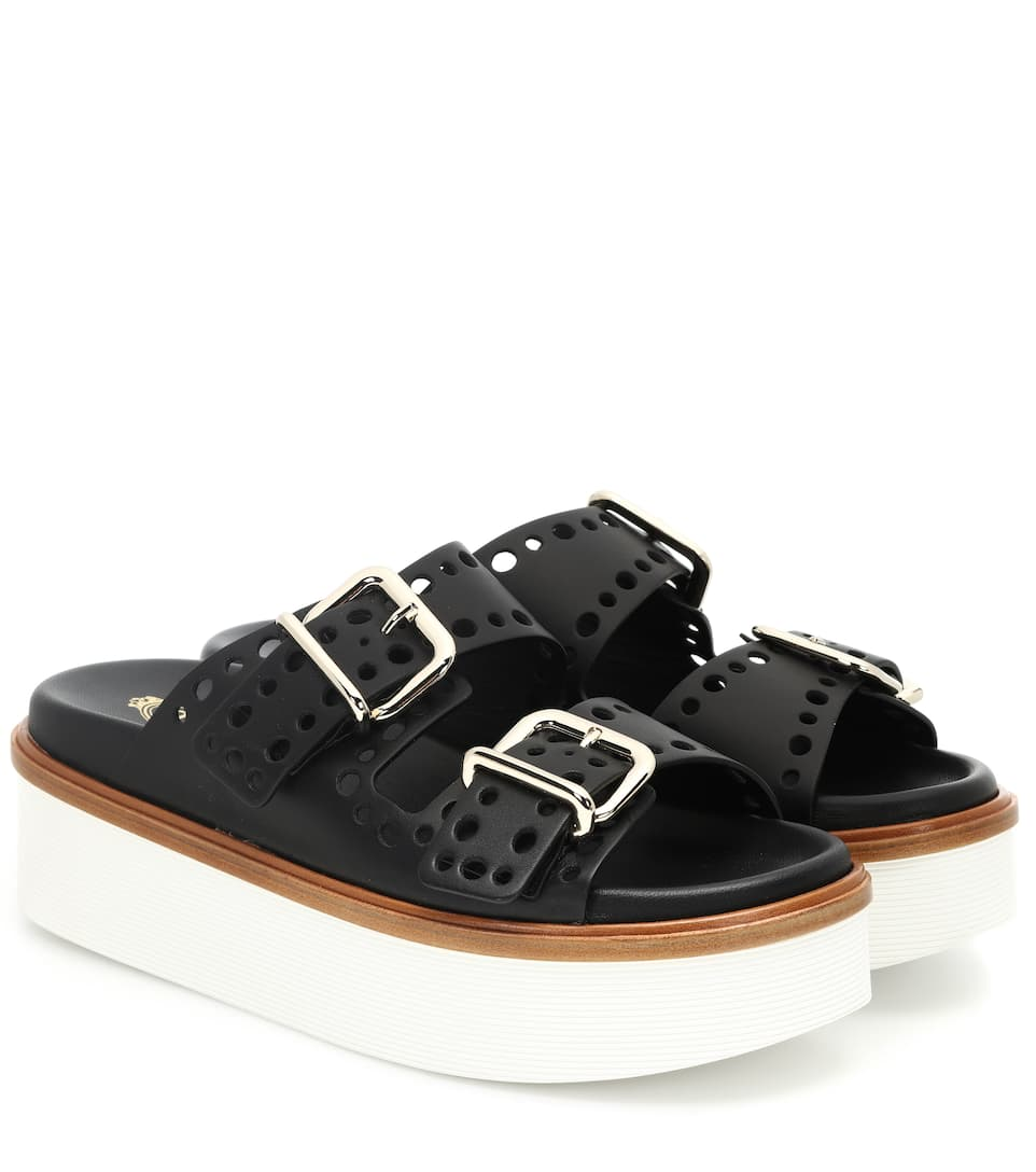 PERFORATED LEATHER FLATFORM SANDALS