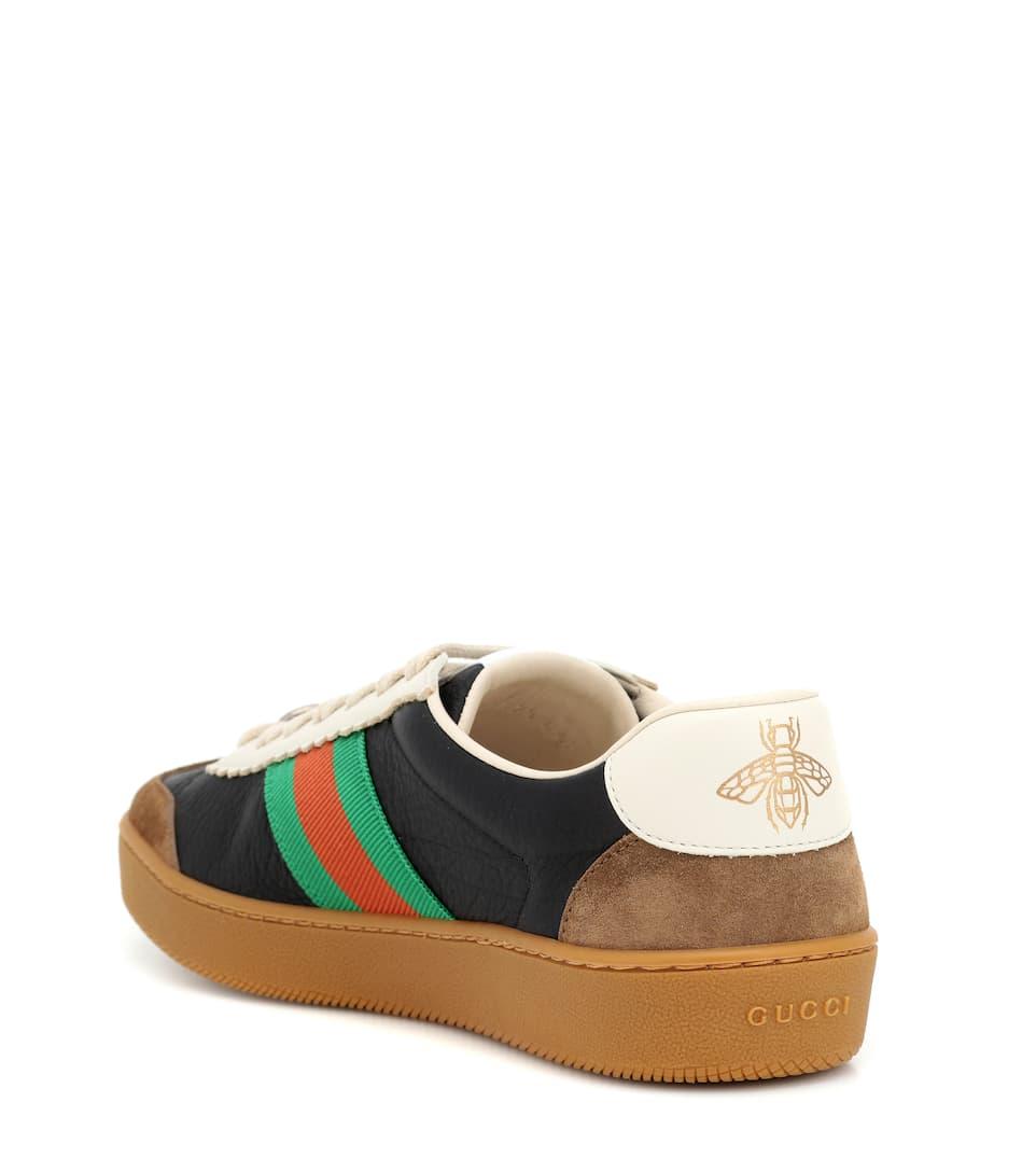Gucci - Baskets en cuir et daim Vente Abordable Mieux En Ligne IiaHpYSAG