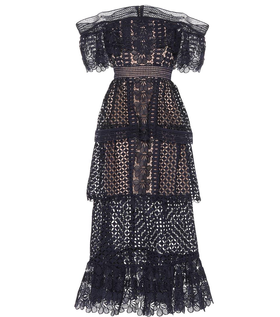 Mit Visum Günstig Online Bezahlen Self-Portrait Schulterfreies Kleid aus Lochspitze Original-Verkauf Online hJWTUK
