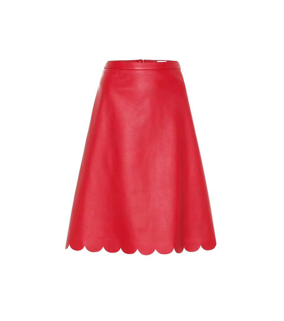 ef534c64a2 REDValentino - Scalloped A-line leather skirt | Mytheresa