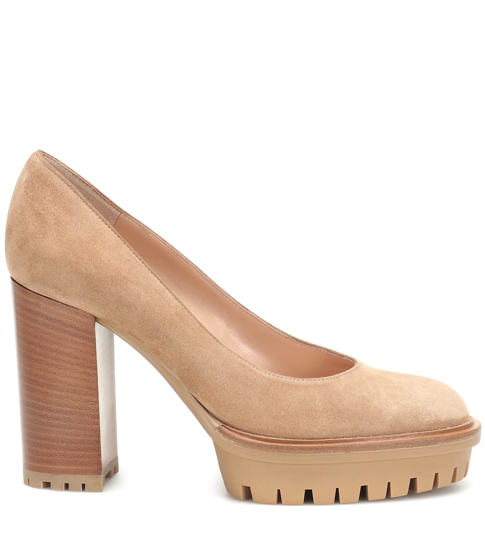 Gianvito Rossi Pumps in suede con plateau